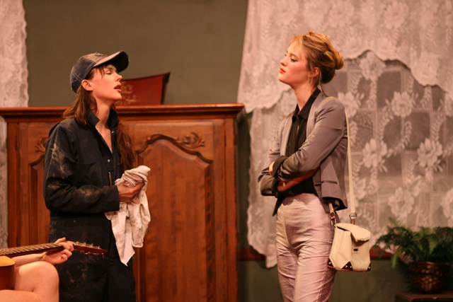 Two female students, one of whom is Mackenzie Davis,  perform a scene in one of the Final Plays.