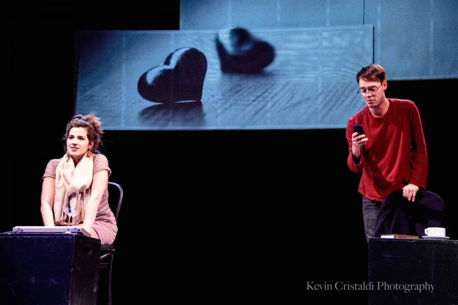 One female and one male student perform a scene in one of the Final Plays.