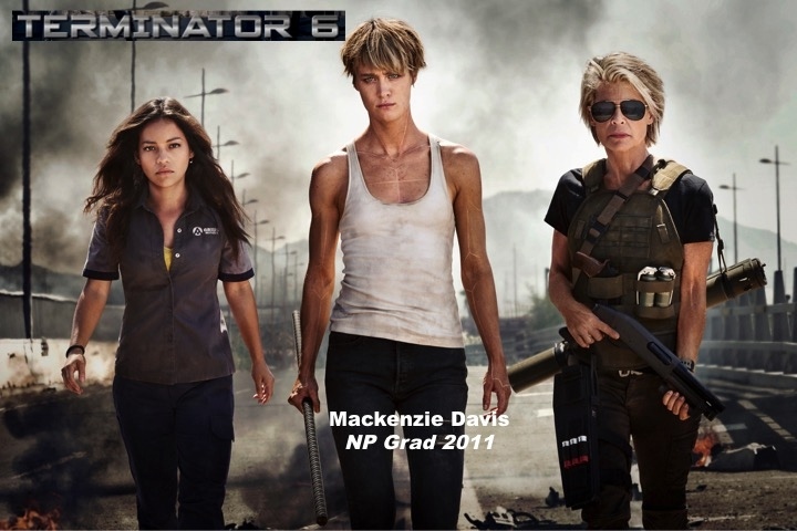 Promotional poster for Terminator Six featuring Playhouse graduate Mackenzie Davis, Class of 2011.