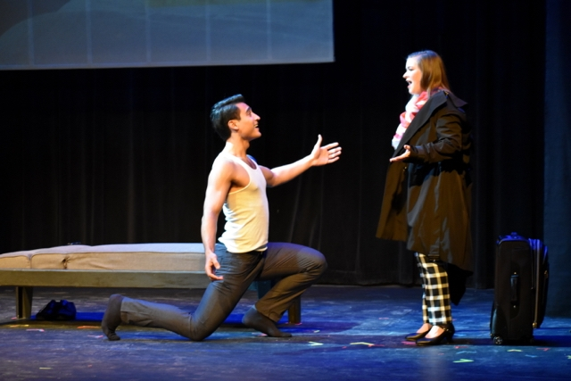 Photo of one female and one male student from the Class of 2019, performing in the musical demo titled Six Degrees of Sondheim.