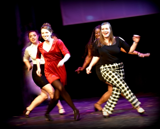 Photo of four female students from the Class of 2019, dancing in the Musical Demonstration titled  Six Degrees of Sondheim.