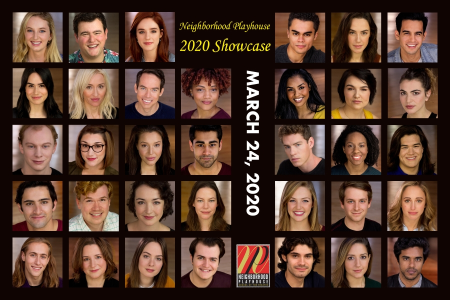 Photo of a flyer promoting The Neighborhood Playhouse Class of  2020 Industry  Showcase on  March 24 , 2020.  The flyer contains professional headshots of the whole class of 2020.