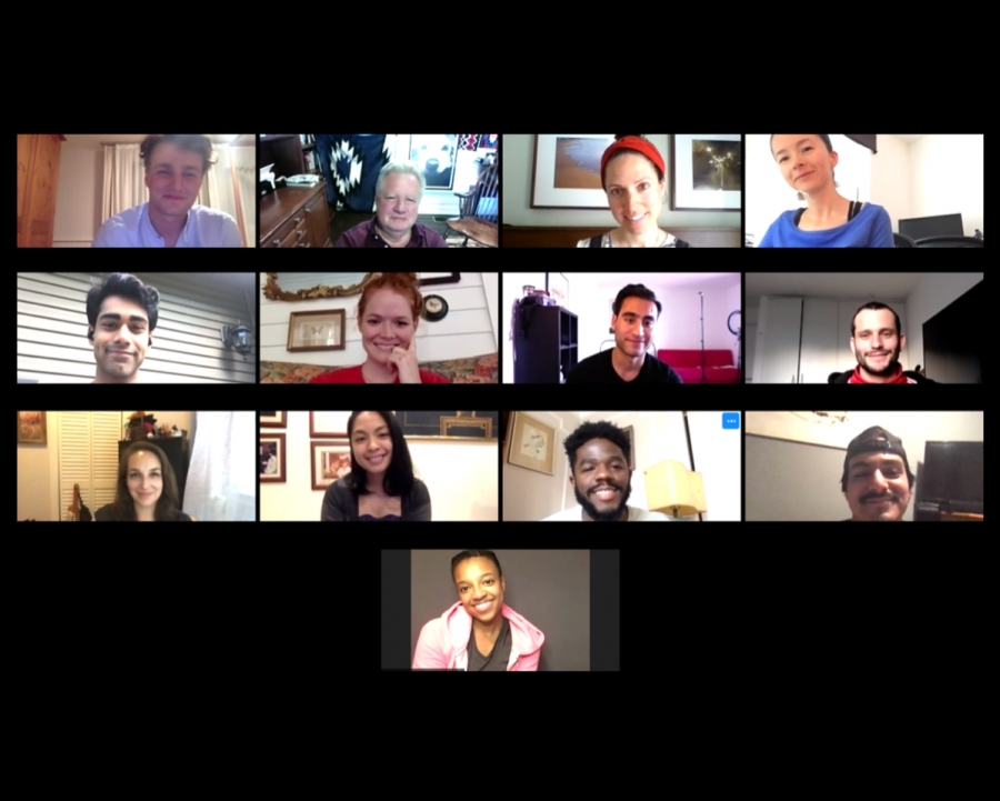 Group picture of a Zoom Class with the students of Jim Hirsch's screenwriting class