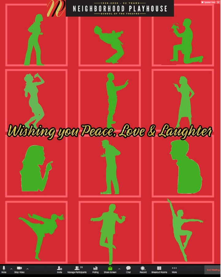 A graphic of silhouetted figures in Zoom windows, with a green and red holiday color scheme. The text of the message reads wishing you peace love and laughter.